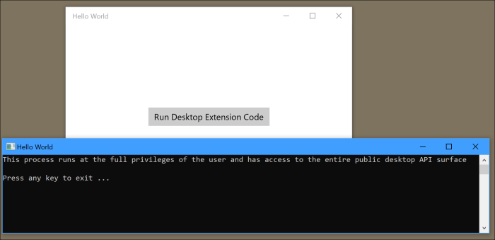 UWP with Desktop Extension – Part 1 – Insights into the